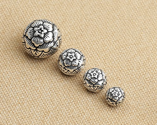 (Luoyi Vintage Thai Sterling Silver Beads, Round, Rose Flower, Spacer Beads, DIY Jewelry (C006Z) (10mm))