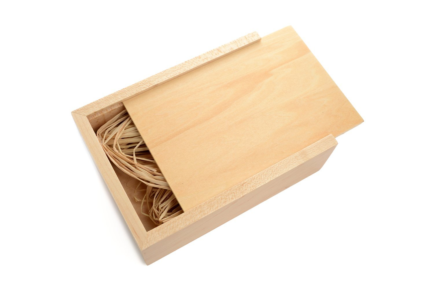 Maple 4 x 6 Photo Box - Holds up to 125 Prints - Filled with Raffia Grass