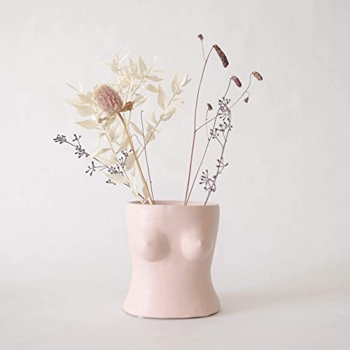 BASE ROOTS Body Flower Vase, Vases for Decor, Modern Boho Chic Home Decor, Small Accent Piece for Living Room, Indoor Plant, Shelf, Mantle, Table, Office, Desk, or Dorm Top, Speckled Pink