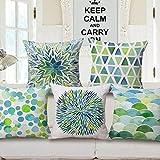 FAIRY HOME Decorative Jute Printed Cushion Cover , Multicolour -Set of 5