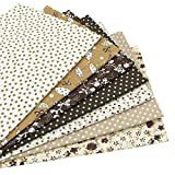 """7pcs Brown 19.7"""" x 19.7"""" 100% Cotton Fabric for DIY Sewing Patchwork quilting squares bundles"""