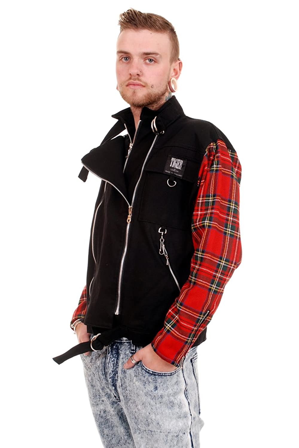 Black Punk Zip Jacket with Red Tartan Sleeves by Tiger of London (Small)