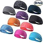 Set of 10 Women's Yoga Sport Athletic Workout Headband For Running Sports Travel Fitness Elastic Wicking Non Slip Lightweight Multi Style Bandana Headbands Headscarf fits all Men & Women (10 Colors)