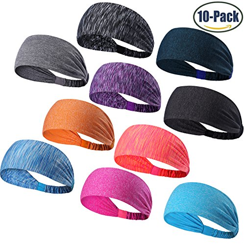Multi Head Scarf (Set of 10 Women's Yoga Sport Athletic Workout Headband For Running Sports Travel Fitness Elastic Wicking Non Slip Lightweight Multi Style Bandana Headbands Headscarf fits all Men & Women (10 Colors))