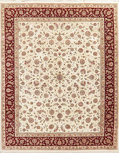 Floral Ivory Oushak Oriental Area Rug Hand-Made Wool 8'X10'