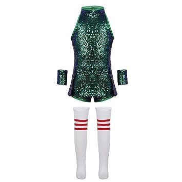 6c44d3e85 Freebily Children Girls Sequins Hip Hop Modern Jazz Dance Costume Kids Stage  Performances Clothes Green 3