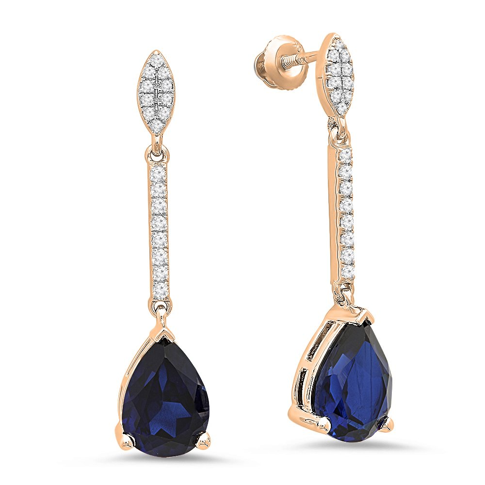 10K Rose Gold 10X7 MM Each Pear Lab Created Blue Sapphire & Round Diamond Ladies Dangling Earrings