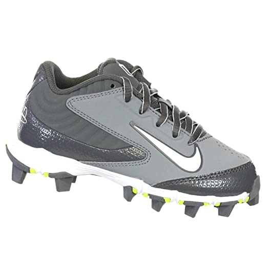 NIKE HUARACHE KEYSTONE LOW GS GREY/GRAPH/WHITE YOUTH MOLDED BASEBALL CLEATS  1 Y