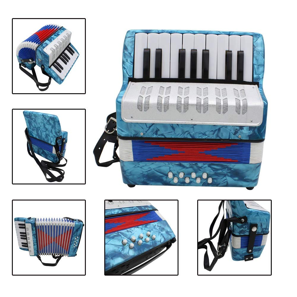 Accordion Portable Lightweight Kids Piano Accordion 17 Keys 8 Bass with Adjustable Straps Music Instruments for Beginners Students Educational Instrument Band Toys Children's Gift by Ybriefbag-Musical Instruments (Image #3)