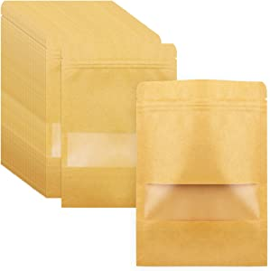 SKPPC 100Pcs Thickened Kraft Stand Up Bags with Matte Window and Sealing strip, Resealable Zip Lock Food Storage Bag, 5.5x7.9 Inches