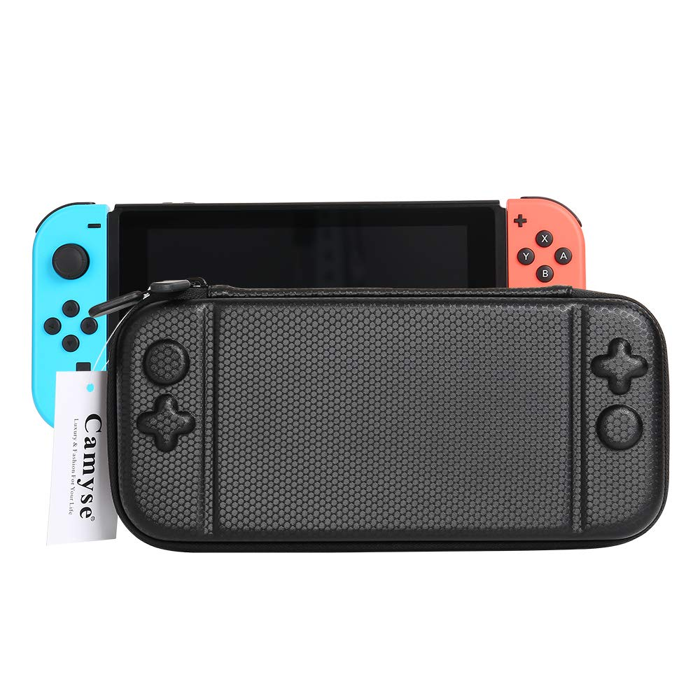 Gamemyse Case for Nintendo Switch Protective, Portable Multi-Function Hard EVA Pouch Storage Bag Carrying Case with 10 Game Cartridge Holders & Stand For Nintendo Switch Console &Accessories - Black
