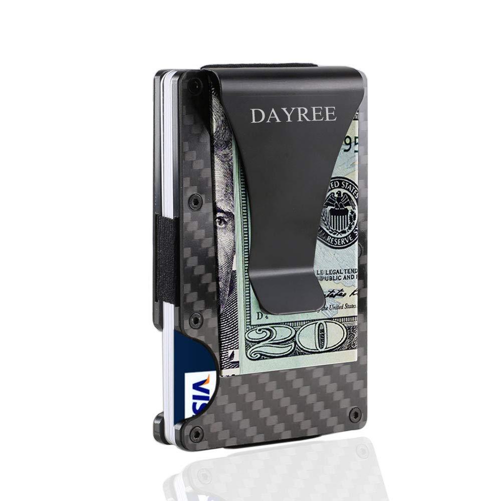 RFID Blocking Carbon Fiber Slim Money Clip Card Holder Front Pocket Mens Wallet