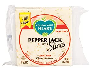 Follow Your Heart Dairy Free Pepper Jack Style Cheese Slices, 7 Ounce (Pack of 12)