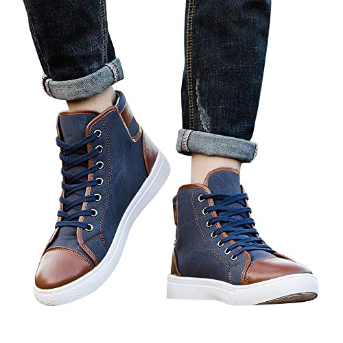 4482f171ef1a0 Men Women Sneaker Causal Lace-Up Ankle Boots Shoes Casual High Top Canvas Shoes  Blue