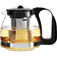Rnow Premium Cam Çaydanlık ve Yumurta, Paslanmaz Çelik Paslanmaz Süzgeç, Çay Yapıcı 700 ml, Cam, Siyah, 700 ml