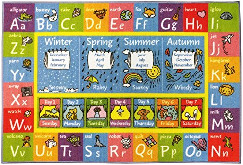 KC CUBS Playtime Collection ABC Alphabet, Seasons, Months and Days of the Week Educational Learning Area Rug Carpet For Kids and Children Bedrooms and Playroom (3' 3