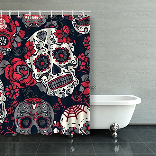 Emvency Shower Curtain Waterproof Day Of The Dead Colorful Sugar Skull With Floral Ornament And Flower Cotton Sofa With Plastic Hooks Polyester Fabric Adjustable Curtain For -
