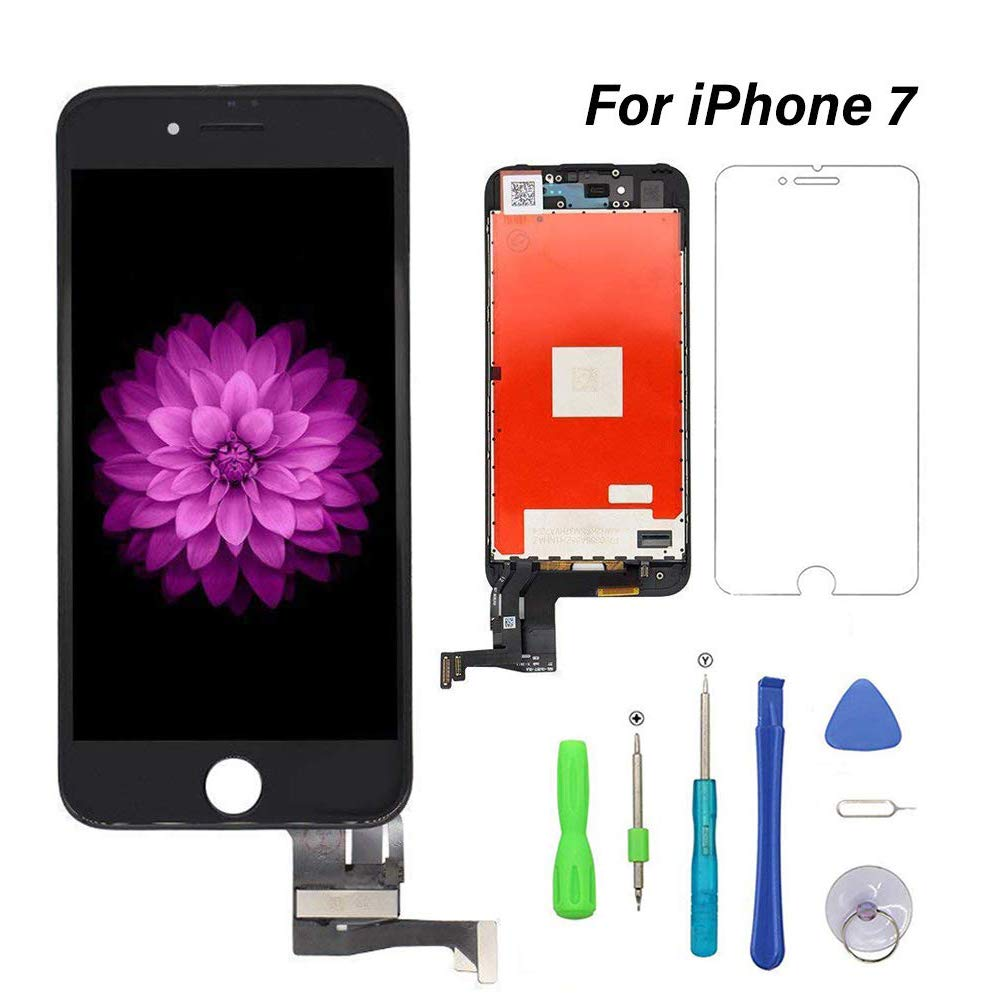 Compatible for iPhone 7 Screen Replacement (4.7inch Black), FFtopu LCD Digitizer Touch Screen Assembly Set with 3D Touch, Repair Tools and Professional Replacement Video Included