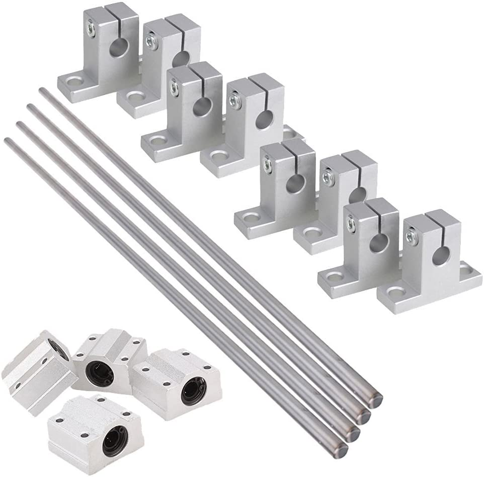Industrial Combination,Ideaker Horizontal 8mm Dia Linear Motion Ball Bearing Slide Bushing &500mm Linear Shaft Optical Axis with Rod Rail Support Set of 16