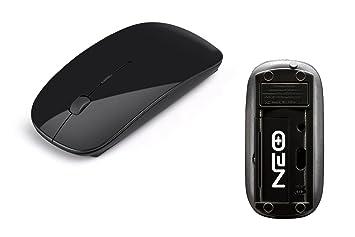 Reino Unido Vendedor. Ultra Slim/pequeño brillante negro ratón óptico inalámbrico para Apple Mac, Windows PC/de sobremesa, portátil - Receptor ...