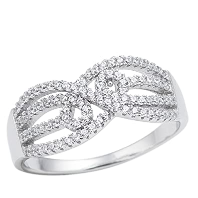 Infinity Swirl Swarovski .925 Sterling Silver Crystal CZ Wedding Band Ring  5-10 ( 4aadf319a8