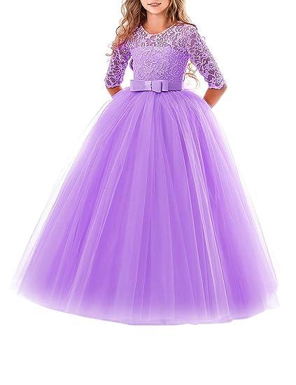 besbomig Vestido de Fiesta de Tul de Encaje Falda de Princesa para ...