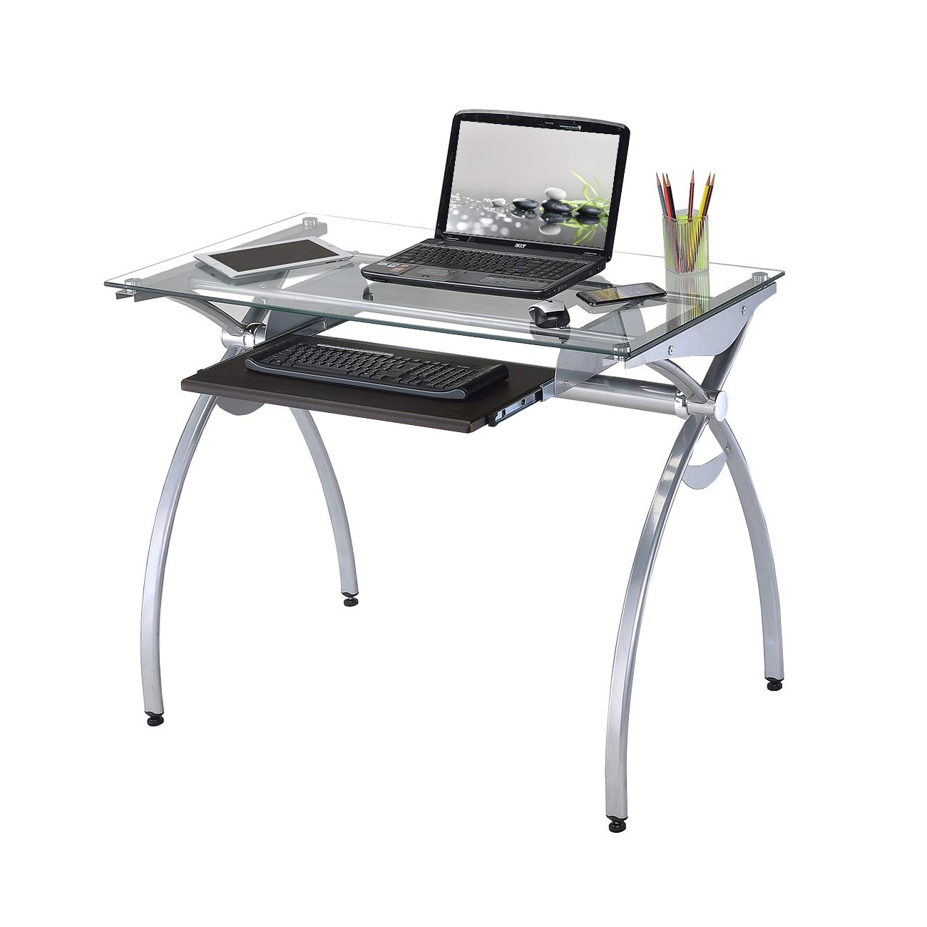 Techni Mobili RTA-00397B-GLS Contempo Glass Top Computer Desk with Pull Out Keyboard Panel, Clear by Techni Mobili