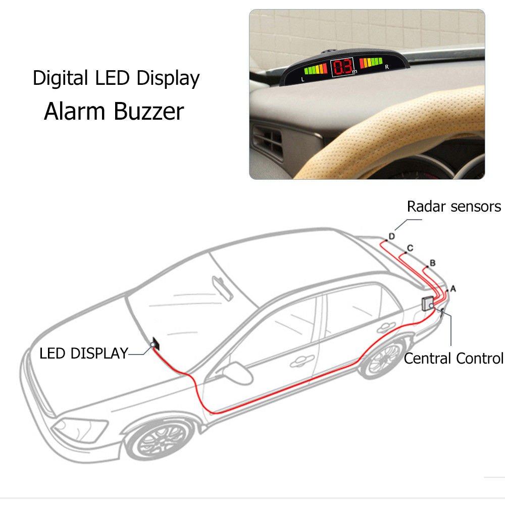 Amazon com: Rear Parking Sensor Kit White MASO LED Display