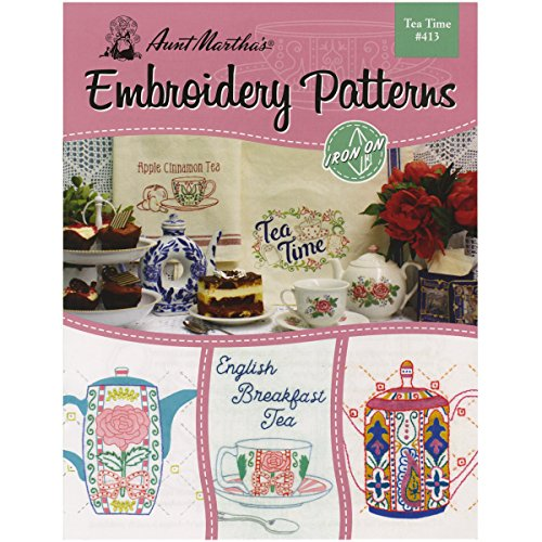 Aunt Martha's 413 Tea Time Transfer Pattern Book with Over 25 Iron on (Best Aunt Martha's Aunt Cups)