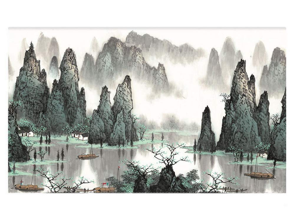 Gentle Meow Home Creative 50-Inch TV Cloth Decorative Dustproof Cover, Mountains