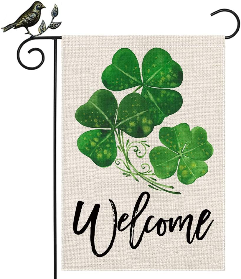 AENEY St Patricks Day Garden Flag 12.5x18 Vertical Double Sided Decorative Shamrock Welcome Garden Flag for Outside Yard Lawn Outdoor St Patricks Day Decoration B66-12