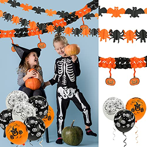 Koogel Halloween Decoration Banners Pack,Trick or Treat Paper Chain Hanging Garland with Pumpkin Bat Spiders Ghost Skeleton Pattern and Ballons for Halloween Horror Theme Props Party Supplies