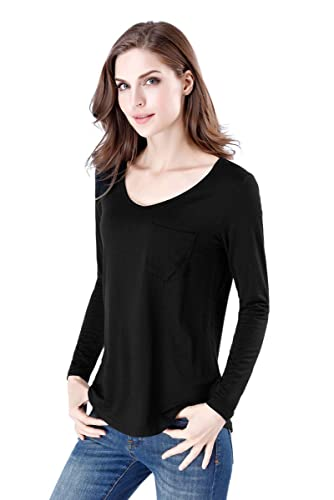 1ff3c823e220a4 wirarpa Womens Soft Stretchy Long Sleeve T-Shirt Ladies Loose Casual Modal  Tops at Amazon Women's Clothing store:
