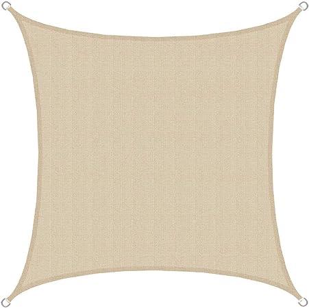 AMANKA Voile d\'ombrage en PE-HD Toile rectangulaire de Jardin 2x2m pour  Faire Ombre Couverture Respirant perméable Crème