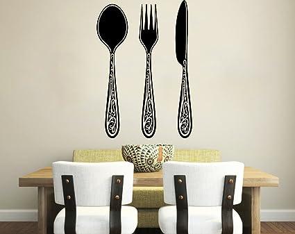 Etiquetas de la pared patrón de la vendimia tenedor cuchara cuchillo cubertería Cafe decoración de la