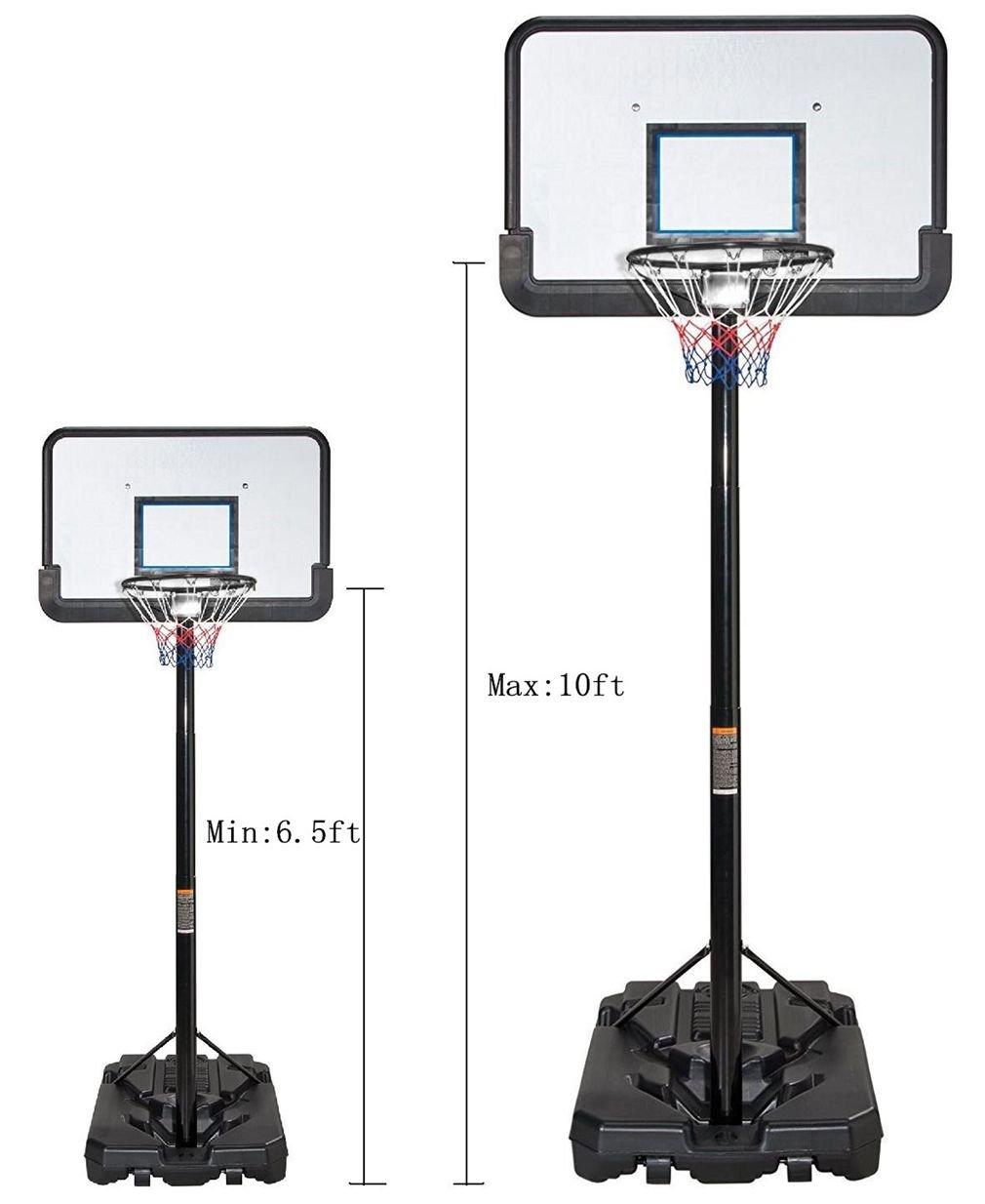 KLB Sport Pro Court Height Adjustable Portable Basketball Hoop System w/Wheels, 43 Inch Backboard (Black Coated) by KLB Sport (Image #2)