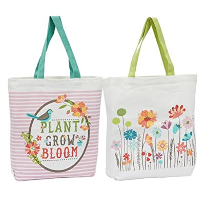 new DII Design Imports Printed Canvas Totes - Set of 2 (Garden Print)