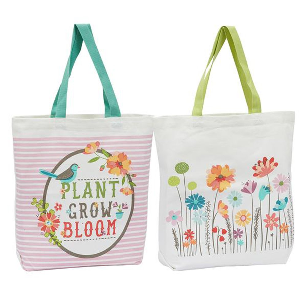 Set of 2 DII Design Imports Printed Canvas Totes Garden Print