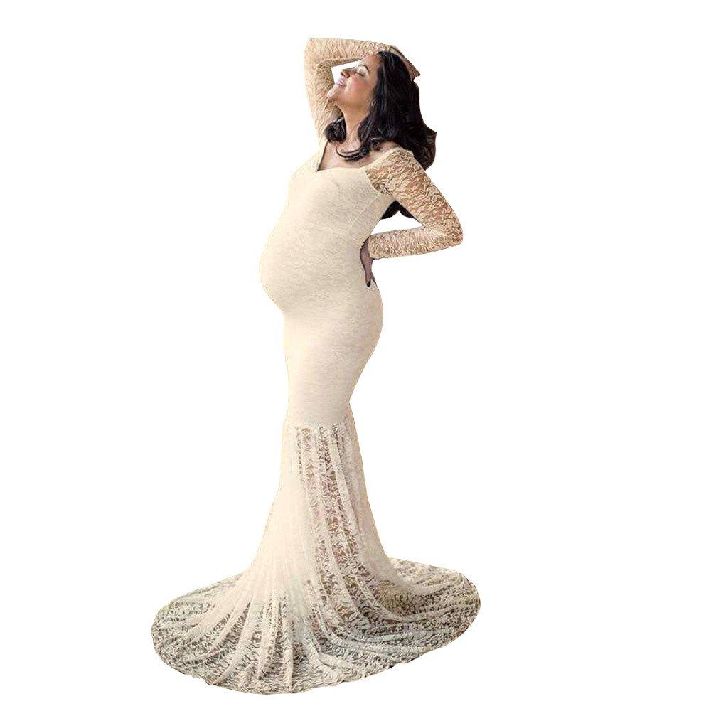 VICGREY ❤ Abiti Eleganti Donne Incinte, Gonna delle Donne Incinte Floreale Maniche, Donna Pizzo Abiti Trailing Abito Lunga Eleganti Vestiti maternità per Fotografia