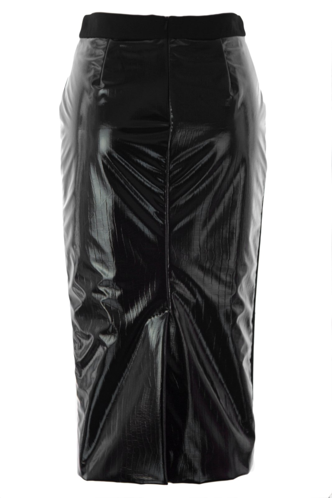 Max Mara Women's Facile Backside Croc Embossed Skirt Sz 4 Black by MaxMara (Image #2)