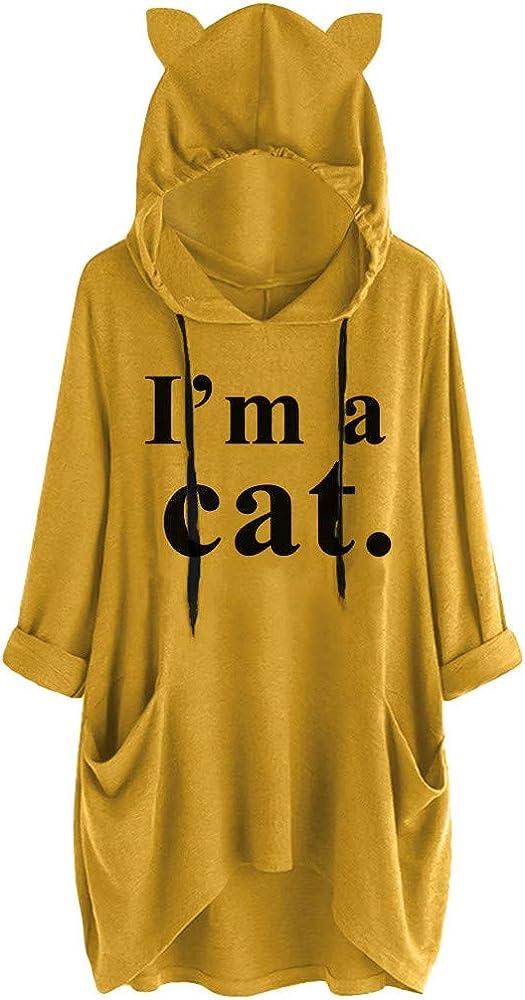 Camisa con Capucha de Oreja de Gato Casual para Mujer Blusa Irregular de Bolsillo con Estampado de Letras de Manga Larga Top: Amazon.es: Ropa y accesorios