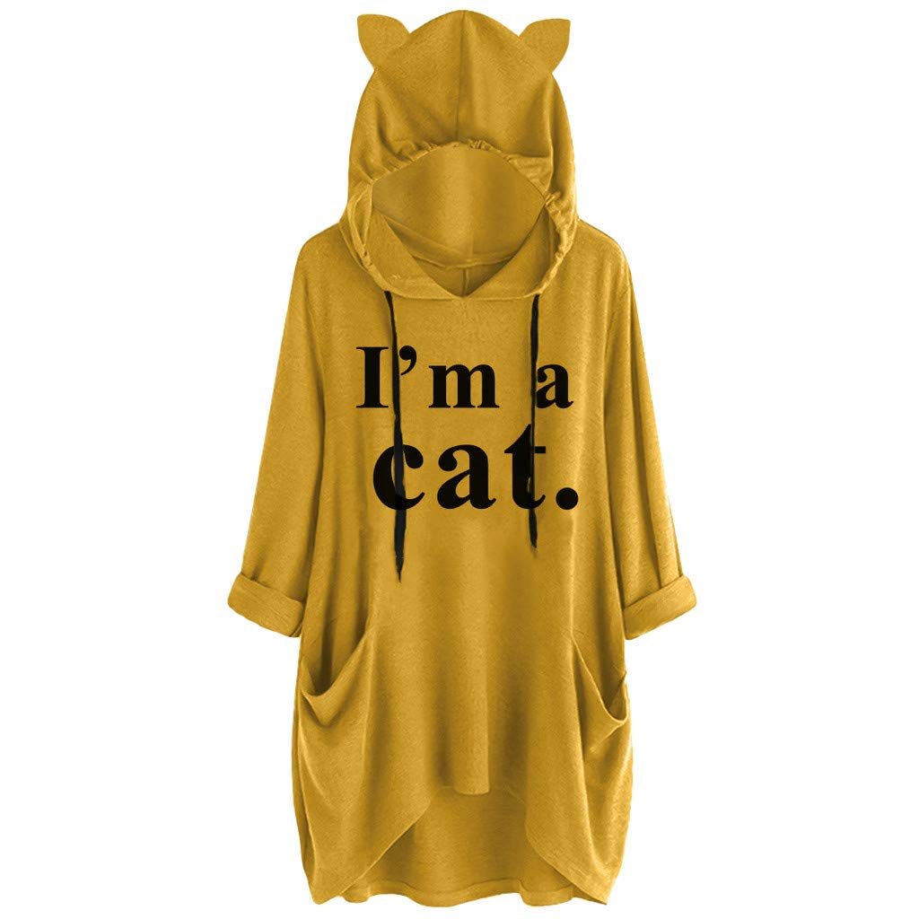 Royallove  I'm a Cat Graphic Women Sweatshirt Long Sleeve Pullover Hoodies Loose Fit Pocket Tunic Tops for Girl Teens Yellow by Royallove