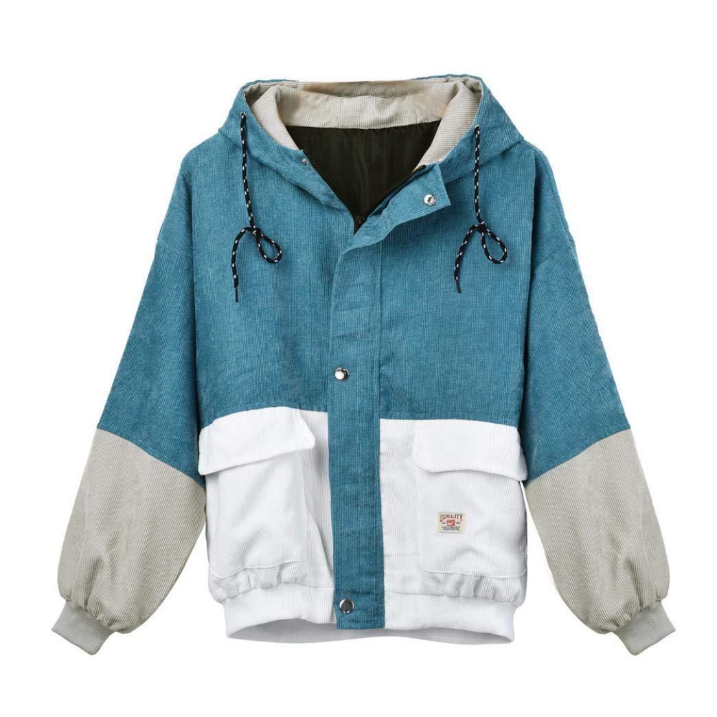 GOVOW Corduroy Oversize Jacket for Women Long Sleeve Patchwork Shirts Windbreaker Coat Overcoat(US:20/CN:XL,Blue)