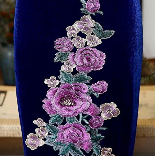 Chinesische ACVIP Art Kragen Lang Damen Velours Schlitz Blumen Cheongsam Muster Dunkelblau Ww4qrYcp4