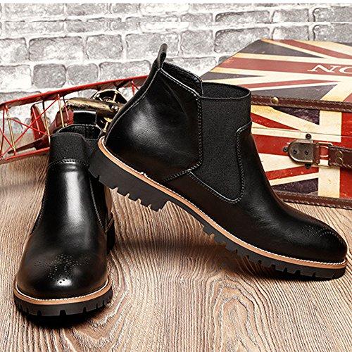 Morbida In rosso Nero Chelsea uomini Marrone Brogues Nero Stivaletti Stile Britannico Inverno Casual Pelliccia Boots Pelle degli Scarpe Moda di wAgxUqa
