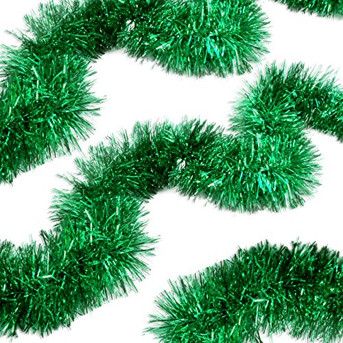 Bright Green Tinsel Garland Celebrate a Holiday Mardi Gras Party Supplies Indoor and Outdoor