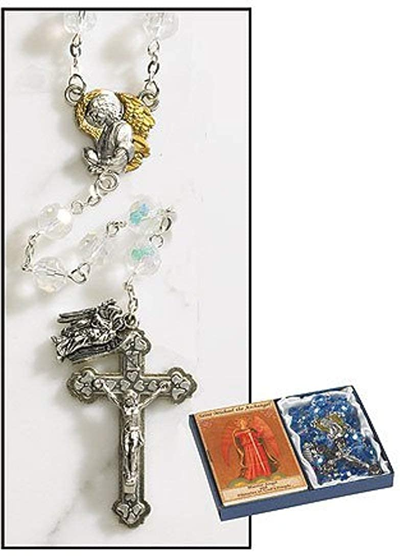 Gifts by Lulee, LLC Crystal Beads Archangel Angel Rosary Set with Two Tone Angel Centerpiece and Crucifix with Dangle Medal Michael, Gabriel, Uriel and Raphael