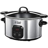 Russell Hobbs 22750-56 Olla de cocción lenta y sellado, tiempo de cocción ajustable, temporizador programable, 6.0 l, acero inoxidable,  negro/ gris