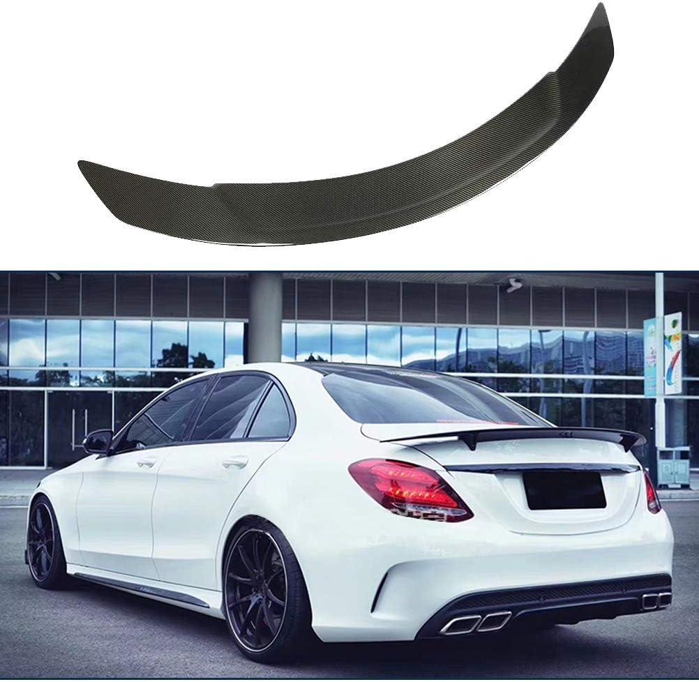 LY-QCYP Spoiler Trasero Aplicar para Mercedes Benz W205 C180 C200 C220 C250 C300 C400 C63 AMG Sedan 2014-2019 Fibra de Carbono Tronco Posterior de la Tapa del ala del aler/ón de Cola