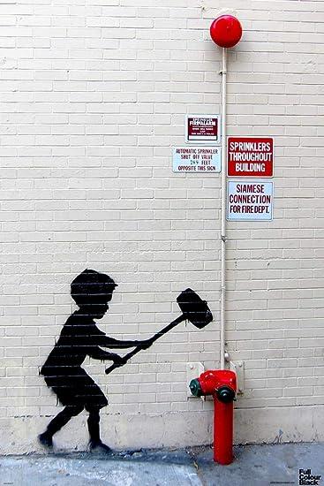 Amazon com: Pyramid America Banksy Hammer Boy Graffiti